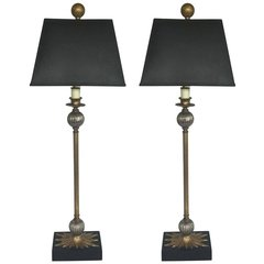 SOLD!!! Pair of Maison Jansen Style Candlestick Lamps with Textured Shades