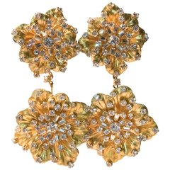 Old Hollywood Gilt Petal Earrings Cubic Zirconia and Rhinestone Be Dazzler's