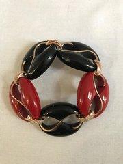 Black & Red Cristina Sabatini Silver and Crystal Encrusted Bracelet