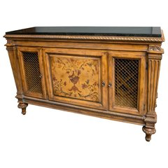 SOLD - Fantastic Adam's Style Marble-Top Wine Cabinet and Buffet