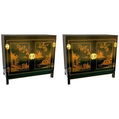 SOLD - Pair of Stunning Forest Green Chinoiserie & Brass Side Tables