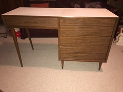 SOLD - Walnut and Laminate Top Mid Century Desk - Possibly Knoll