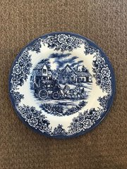SOLD!! Royal Stafford Blue White Horse Coach Dish