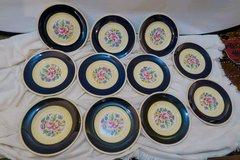 Stunning Set of 11 Cobalt Blue Fondeville Ambassador Luncheon Plates