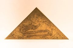 Set of 4 Asian Dragon Design Brass Desk Top Plates - Desk Writing Tables