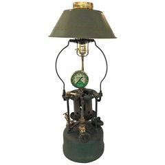 Early 1900's Lead Melter Lamp Polished Brass Oxygen Gauge Antique Metal
