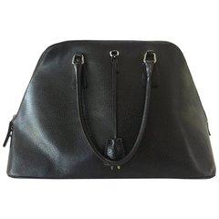 Black Beauty Prada Handbag with Key and Lock, Authentic Prada Leather Bag