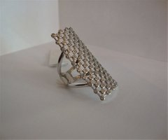 Swavorsk and Silver Modern Mesh Ring