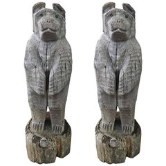 SOLD!! A Pair of Green Eye'd Hand Carved Adorable Loon Lake Bear Statue's! Ben and Barb