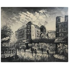 """SOLD!! Beautifully Colored Detailed Oil on Canvas """"Streets in Moulin Rouge"""" by Burney"""