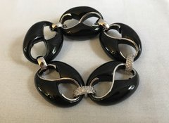 Black Cristina Sabatini Silver and Crystal Encrusted Bracelet