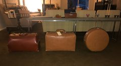 SOLD - FABULOUSLY FUN MID CENTURY Vintage Leather Luggage! SET OF THREE