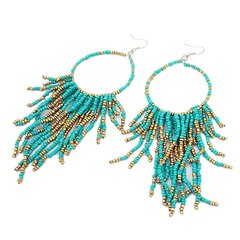 Turquoise & Gold Hoops
