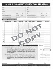 Multi Weapon Transaction Agreement 8 1/2 x 11 Pad of 80
