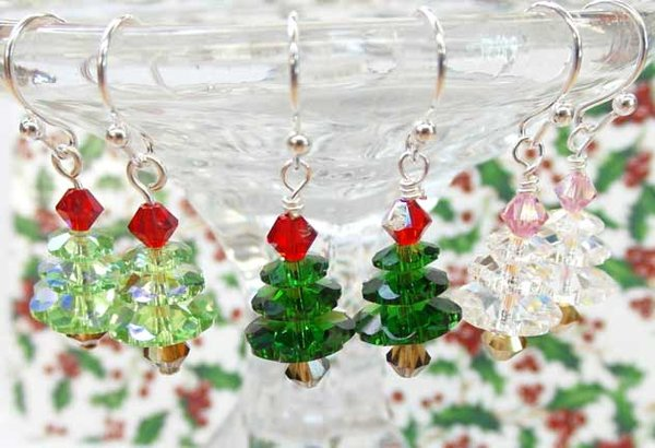 effect earrings christmas with brown coloured crystals tree xmas crystal sparkling gold