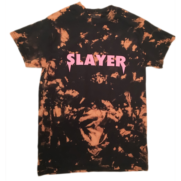 Slayer T-Shirt - Bleached Black Pink | Case Dolls