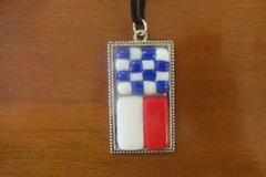 Two Flag Necklace with Silver Bezel