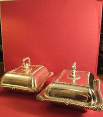 Antique British Silver Holloware Two silver plate chafing dishes with covers and removable handles, English, ca. 1920.