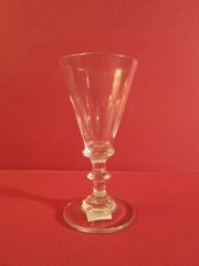 Panel cut wine glass, probably English, ca. 1910.