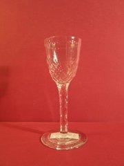 English crystal wine glass, cut base on bowl, cut stem, ca. 1900.