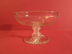 Continental blown glass tazza on stand with starburst cut beneath stand, having a hollow stem, ca. 1870.