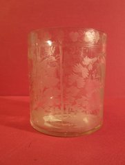 Bohemian tumbler, with etched floral overall design, ca. 1870.