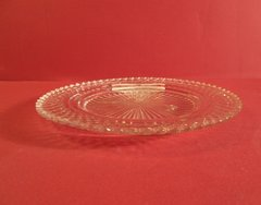 Irish cut crystal dish, with star burst cut in center reverse, but around rim from beneath, Regency.
