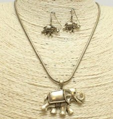 Elephant Rope Chain Necklace Set-Antique Gold