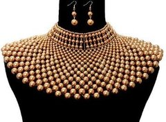 Pearl Armour Bib Choker Necklace Set-BR