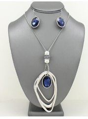 Crystal Pendant Necklace Set-Blue