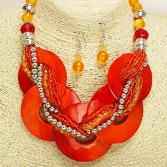 Multi Shell Disc Necklace Set-Orange