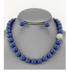 One String Blue/Rhinestone Pearl Necklace Set
