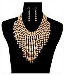 Metal Drop Necklace Set-Gold