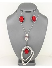Crystal Pendant Necklace Set-Red