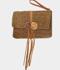 Straw Clutch Handbag-Beige