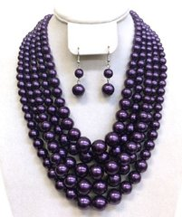 Chunky Pearl Necklace Set-PURPLE