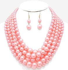 Chunky Pearl Necklace Set-PK