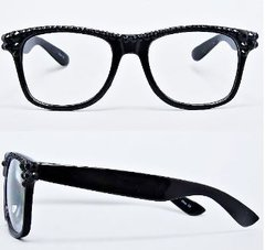 Crystal Square Clear Fashion Eyewear-Blk
