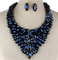 Bib Rhinestone Blue Necklace Set