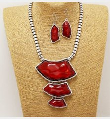 Metal  Stone Necklace Set-Red
