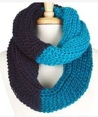 Three Tone Infinity Scarf-Blue