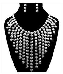 Metal Drop Silver Necklace Set