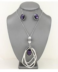 Crystal Pendant Necklace Set-Purple