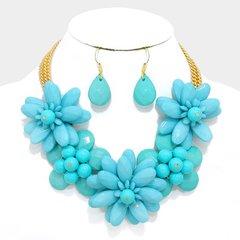 Flower Lucite Necklace Set