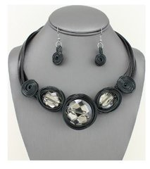 Wire Glass Necklace Set-BL