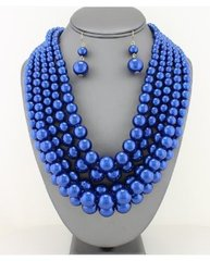 Chunky Pearl Necklace Set-Blue