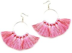 Dangle Hoop Earrings - Pink