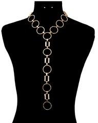 Round Gold Tone Long Necklace Set