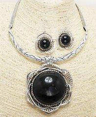 Antique Stone Necklace Set-Black