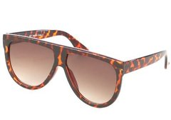 Oversized Brown Flat Top Sunglasses
